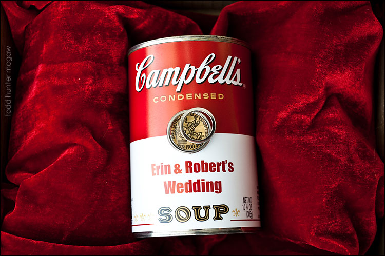 This is E&R's wedding invite..  I KNOW !  & yes, this is a can of tomato soup..  Ingredients etc on the back of the can had all the details of their wedding..